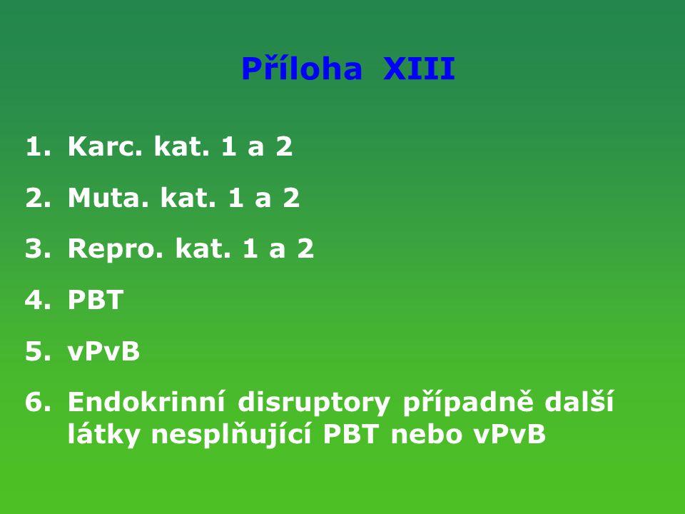 Příloha XIII 1.Karc. kat. 1 a 2 2.Muta. kat. 1 a 2 3.Repro. kat. 1 a 2 4.PBT 5.vPvB 6.Endokrinní disruptory případně další látky nesplňující PBT nebo