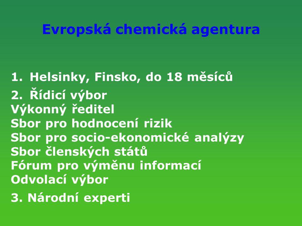 Evropská chemická agentura 1.Helsinky, Finsko, do 18 měsíců 2.Řídicí výbor Výkonný ředitel Sbor pro hodnocení rizik Sbor pro socio-ekonomické analýzy