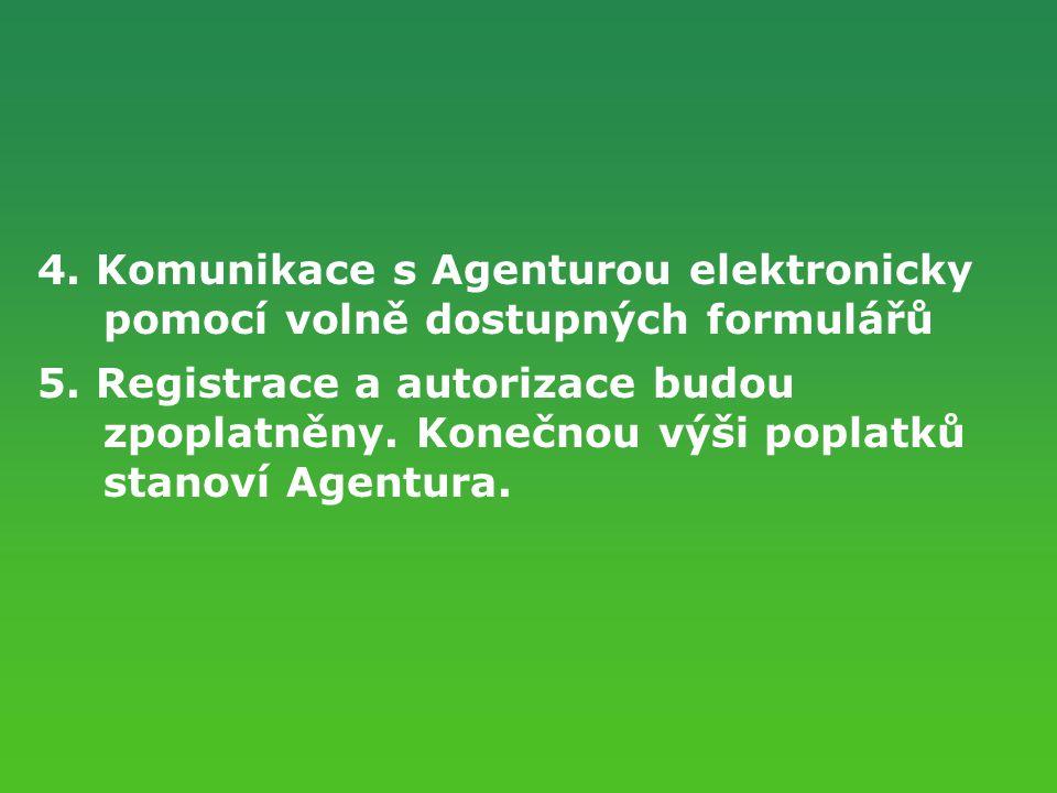 4. Komunikace s Agenturou elektronicky pomocí volně dostupných formulářů 5. Registrace a autorizace budou zpoplatněny. Konečnou výši poplatků stanoví