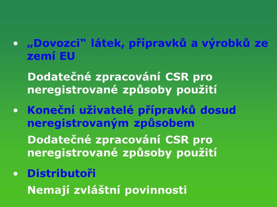 """""""Dovozci"""" látek, přípravků a výrobků ze zemí EU Dodatečné zpracování CSR pro neregistrované způsoby použití Koneční uživatelé přípravků dosud neregist"""