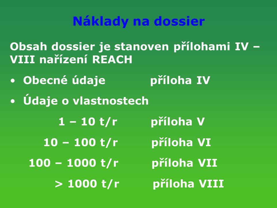 Náklady na dossier Obsah dossier je stanoven přílohami IV – VIII nařízení REACH Obecné údaje příloha IV Údaje o vlastnostech 1 – 10 t/r příloha V 10 –