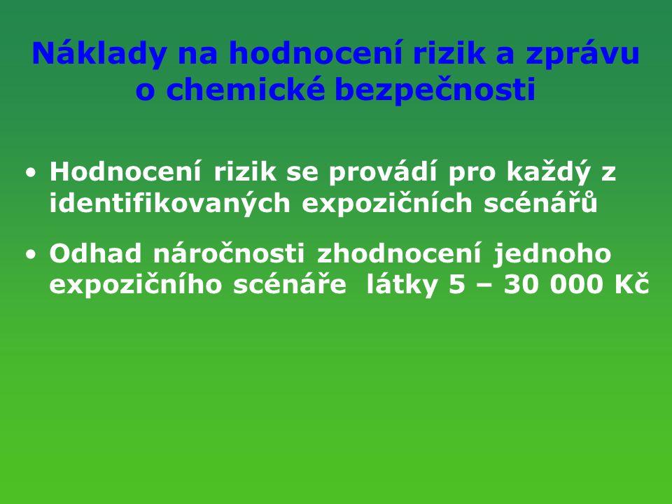 Náklady na hodnocení rizik a zprávu o chemické bezpečnosti Hodnocení rizik se provádí pro každý z identifikovaných expozičních scénářů Odhad náročnost