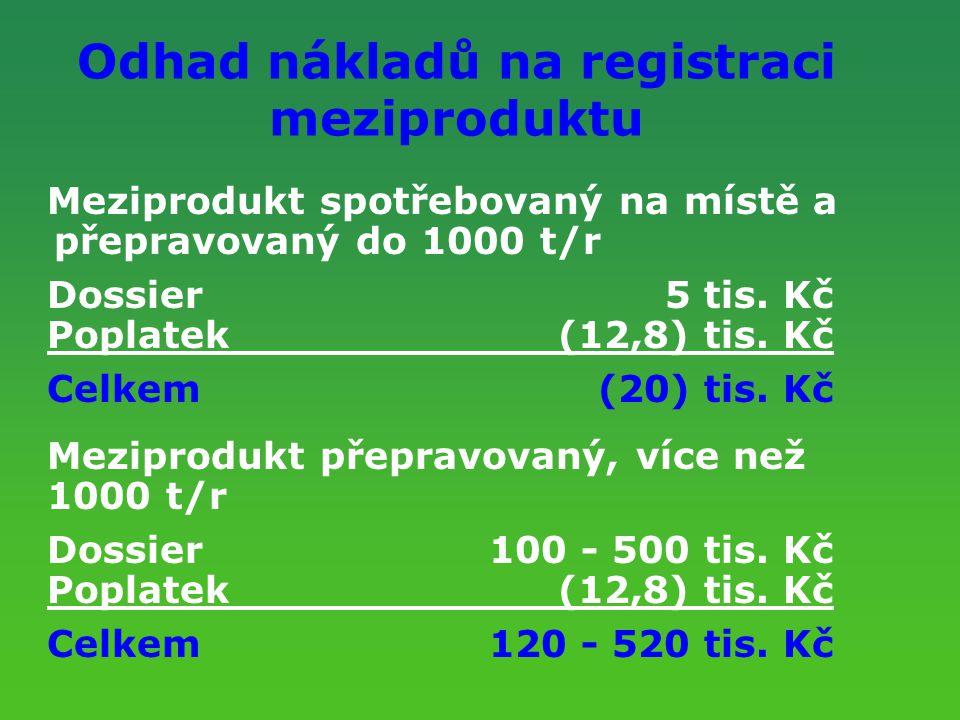 Odhad nákladů na registraci meziproduktu Meziprodukt spotřebovaný na místě a přepravovaný do 1000 t/r Dossier5 tis. Kč Poplatek(12,8) tis. Kč Celkem(2
