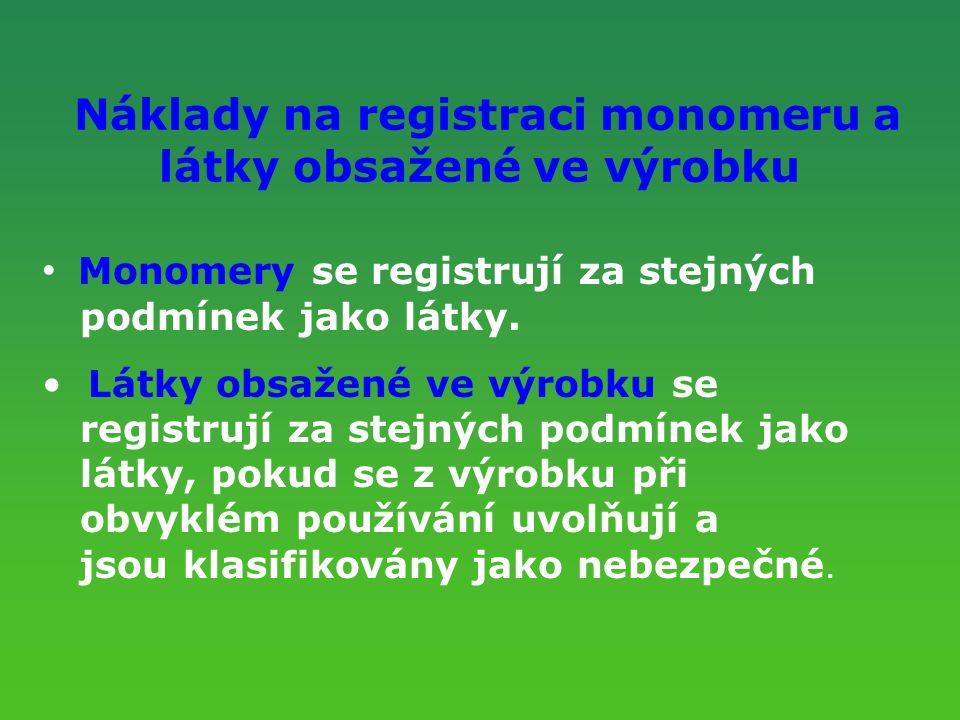 Náklady na registraci monomeru a látky obsažené ve výrobku Monomery se registrují za stejných podmínek jako látky. Látky obsažené ve výrobku se regist