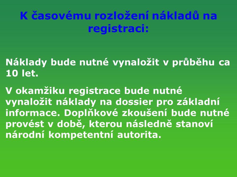 K časovému rozložení nákladů na registraci: Náklady bude nutné vynaložit v průběhu ca 10 let. V okamžiku registrace bude nutné vynaložit náklady na do