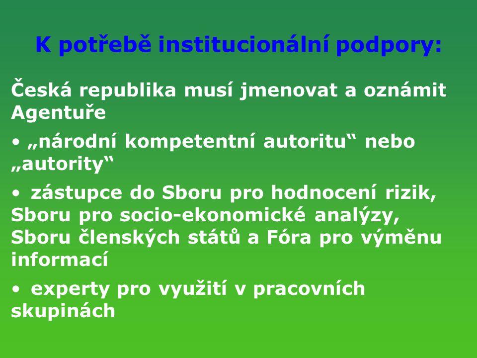 """K potřebě institucionální podpory: Česká republika musí jmenovat a oznámit Agentuře """"národní kompetentní autoritu"""" nebo """"autority"""" zástupce do Sboru p"""