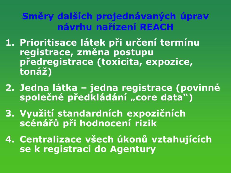 Směry dalších projednávaných úprav návrhu nařízení REACH 1.Prioritisace látek při určení termínu registrace, změna postupu předregistrace (toxicita, e