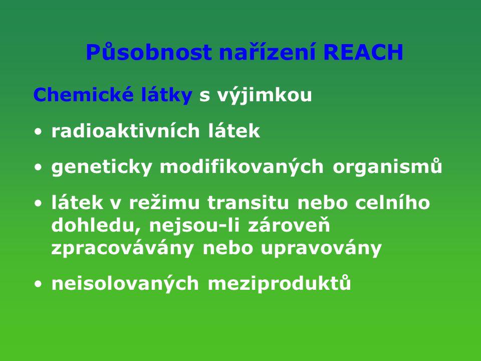 Působnost nařízení REACH Chemické látky s výjimkou radioaktivních látek geneticky modifikovaných organismů látek v režimu transitu nebo celního dohled