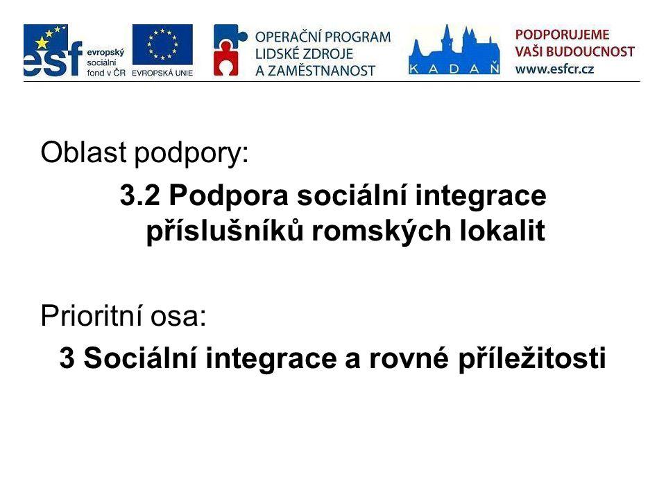 Oblast podpory: 3.2 Podpora sociální integrace příslušníků romských lokalit Prioritní osa: 3 Sociální integrace a rovné příležitosti
