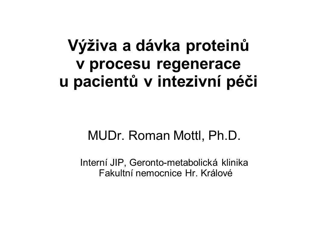 Výživa a dávka proteinů v procesu regenerace u pacientů v intezivní péči MUDr.