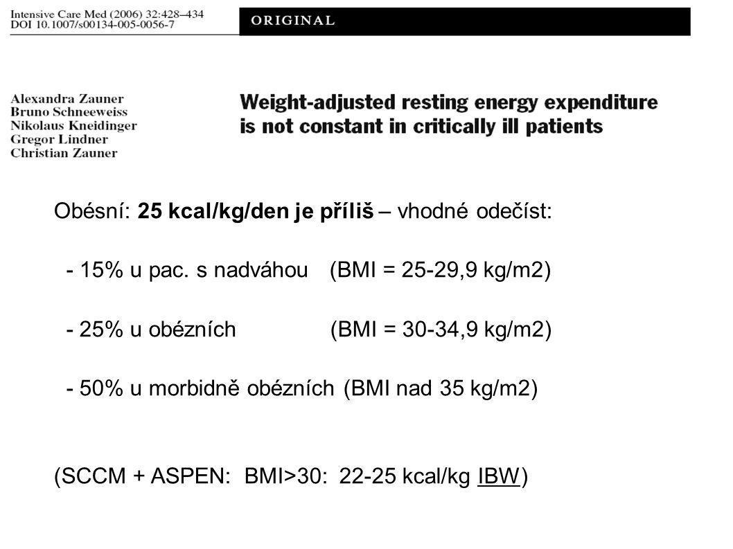 Obésní: 25 kcal/kg/den je příliš – vhodné odečíst: - 15% u pac.