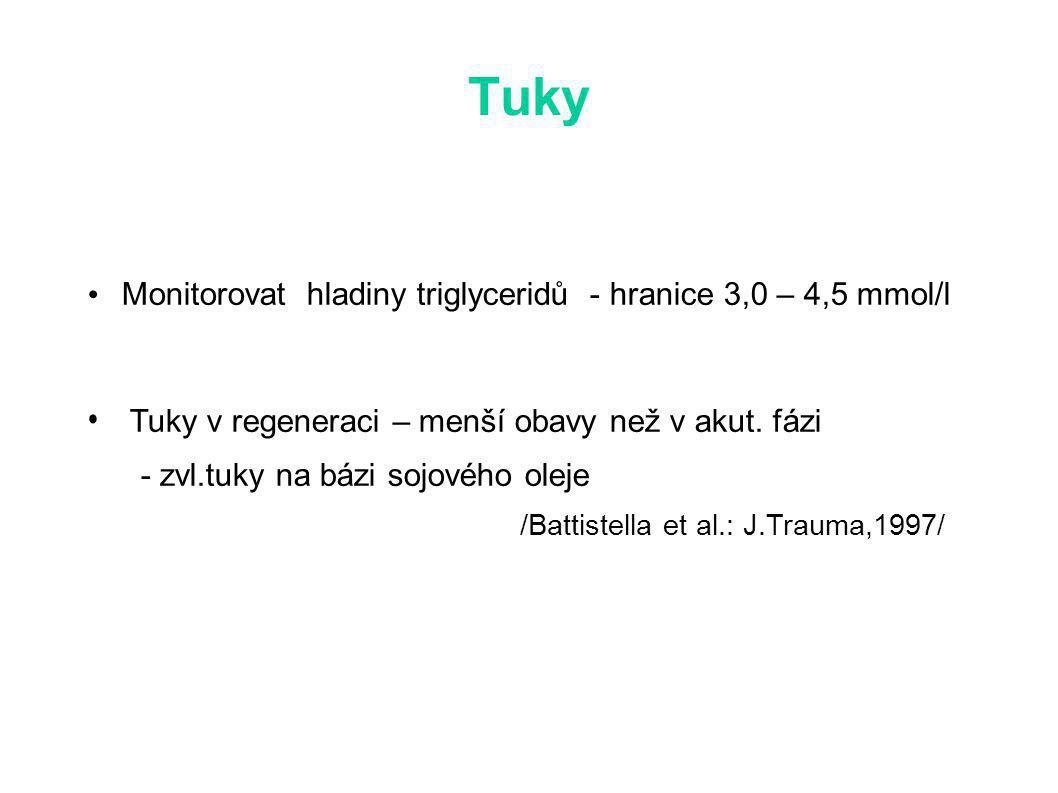 Tuky Monitorovat hladiny triglyceridů - hranice 3,0 – 4,5 mmol/l Tuky v regeneraci – menší obavy než v akut.