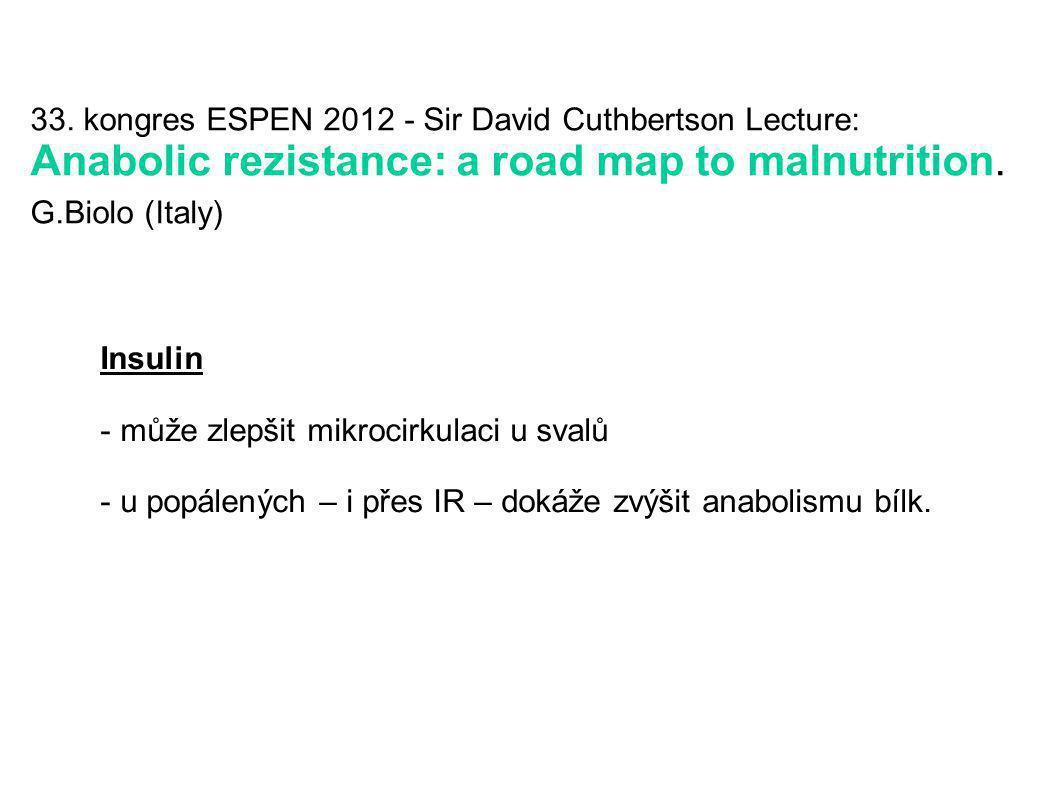 33. kongres ESPEN 2012 - Sir David Cuthbertson Lecture: Anabolic rezistance: a road map to malnutrition. G.Biolo (Italy) Insulin - může zlepšit mikroc