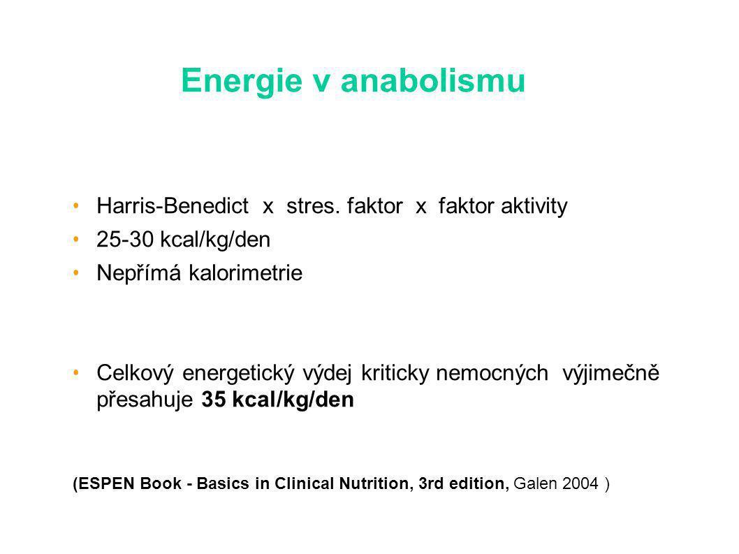 Energie v anabolismu Harris-Benedict x stres.