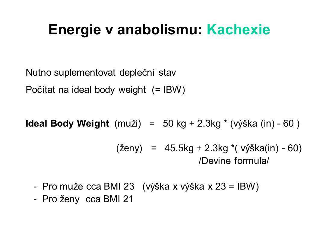 Energie v anabolismu: Kachexie Nutno suplementovat depleční stav Počítat na ideal body weight (= IBW) Ideal Body Weight (muži) = 50 kg + 2.3kg * (výška (in) - 60 ) (ženy) = 45.5kg + 2.3kg *( výška(in) - 60) /Devine formula/ - Pro muže cca BMI 23 (výška x výška x 23 = IBW) - Pro ženy cca BMI 21