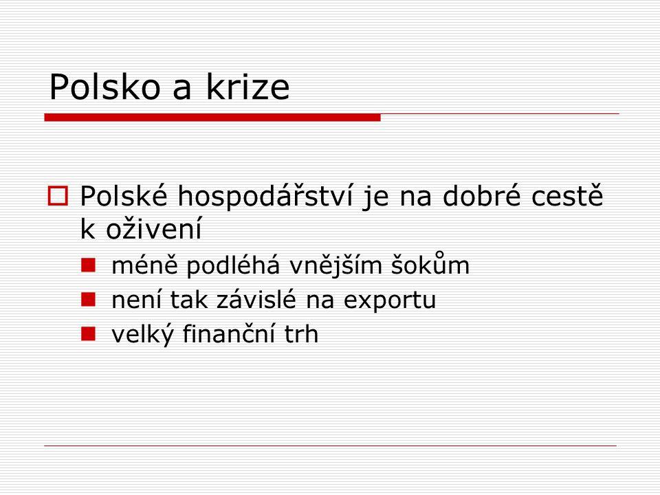 Polsko a krize  Polské hospodářství je na dobré cestě k oživení méně podléhá vnějším šokům není tak závislé na exportu velký finanční trh