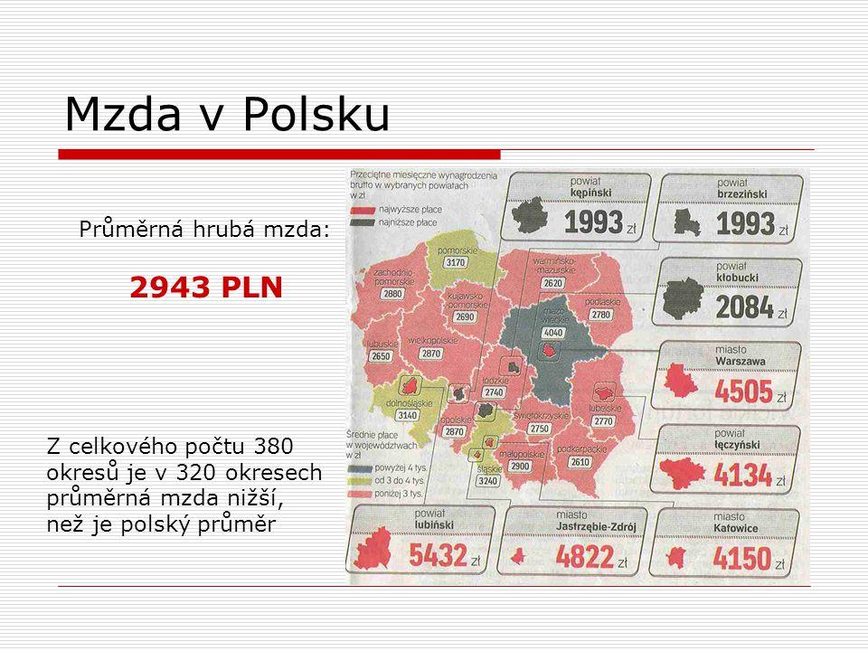 Mzda v Polsku Průměrná hrubá mzda: 2943 PLN Z celkového počtu 380 okresů je v 320 okresech průměrná mzda nižší, než je polský průměr