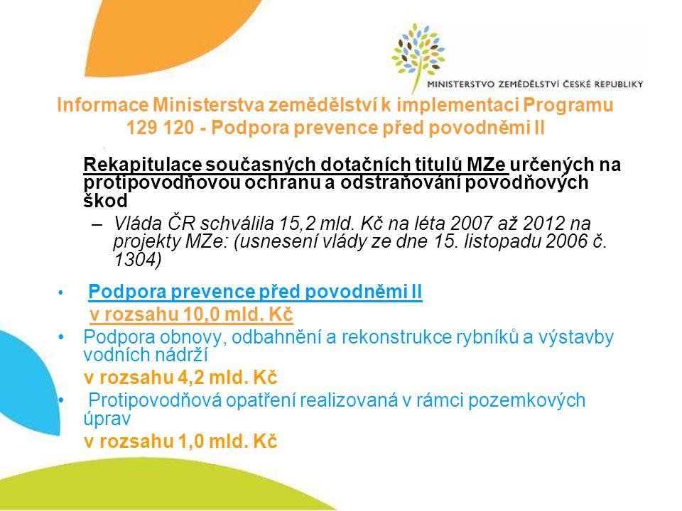 Informace Ministerstva zemědělství k implementaci Programu 129 120 - Podpora prevence před povodněmi II Rekapitulace současných dotačních titulů MZe u