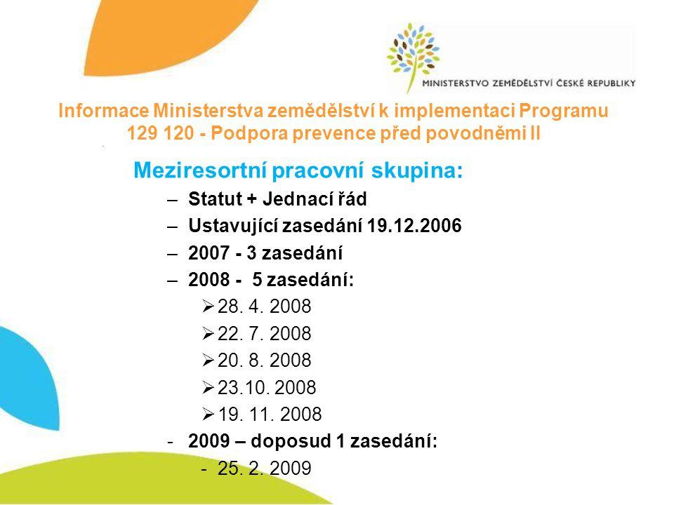 Informace Ministerstva zemědělství k implementaci Programu 129 120 - Podpora prevence před povodněmi II Meziresortní pracovní skupina: –Statut + Jedna
