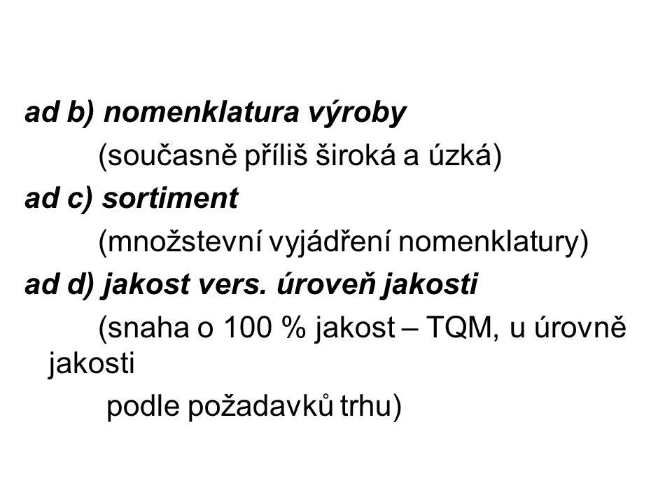 ad b) nomenklatura výroby (současně příliš široká a úzká) ad c) sortiment (množstevní vyjádření nomenklatury) ad d) jakost vers. úroveň jakosti (snaha