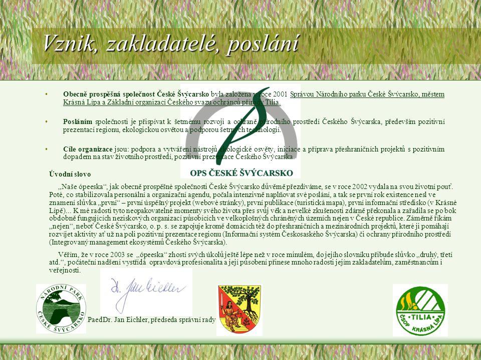 Vznik, zakladatelé, poslání Obecně prospěšná společnost České Švýcarsko byla založena v roce 2001 Správou Národního parku České Švýcarsko, městem Krásná Lípa a Základní organizací Českého svazu ochránců přírody Tilia.