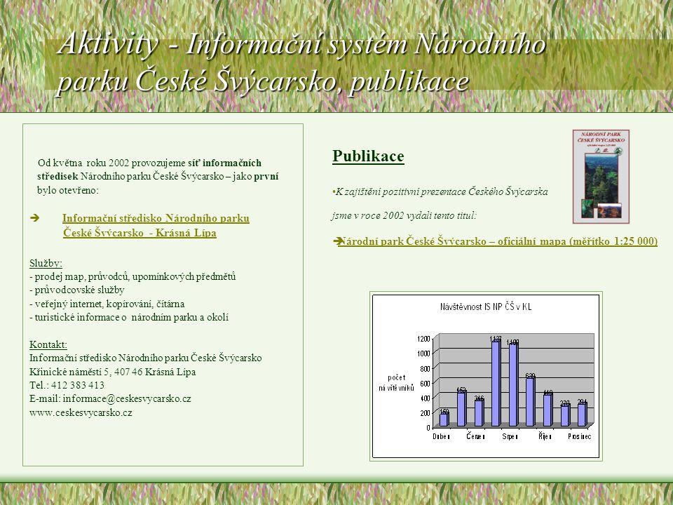 Aktivity - Informační systém Národního parku České Švýcarsko, publikace Od května roku 2002 provozujeme síť informačních středisek Národního parku Čes