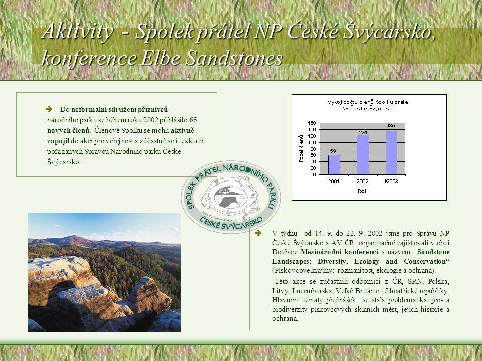 Aktivity - Spolek přátel NP České Švýcarsko, konference Elbe Sandstones èDo neformální sdružení příznivců národního parku se během roku 2002 přihlásilo 65 nových členů.