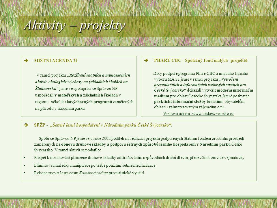 """Aktivity – projekty èMÍSTNÍ AGENDA 21 V rámci projektu """"Rozšíření školních a mimoškolních aktivit ekologické výchovy na základních školách na Šluknovsku jsme ve spolupráci se Správou NP uspořádali v mateřských a základních školách v regionu několik ekovýchovných programů zaměřených na přírodu v národním parku."""