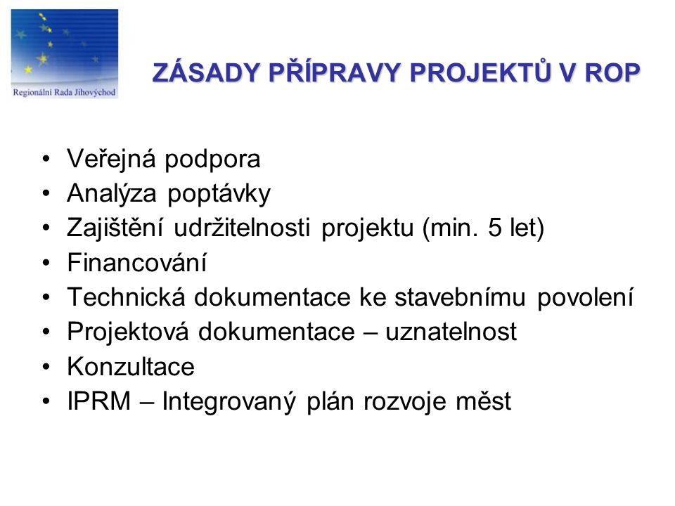 ZÁSADY PŘÍPRAVY PROJEKTŮ V ROP Veřejná podpora Analýza poptávky Zajištění udržitelnosti projektu (min.