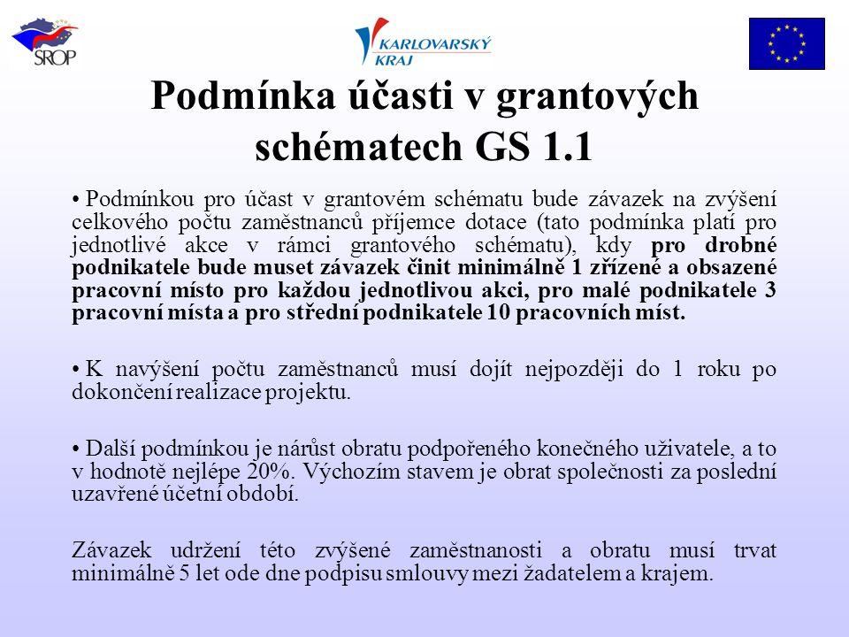Podmínka účasti v grantových schématech GS 1.1 Podmínkou pro účast v grantovém schématu bude závazek na zvýšení celkového počtu zaměstnanců příjemce dotace (tato podmínka platí pro jednotlivé akce v rámci grantového schématu), kdy pro drobné podnikatele bude muset závazek činit minimálně 1 zřízené a obsazené pracovní místo pro každou jednotlivou akci, pro malé podnikatele 3 pracovní místa a pro střední podnikatele 10 pracovních míst.