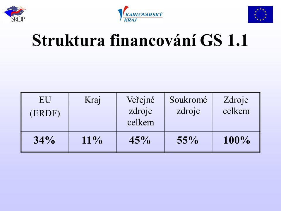 Struktura financování GS 1.1 EU (ERDF) KrajVeřejné zdroje celkem Soukromé zdroje Zdroje celkem 34%11%45%55% 100%