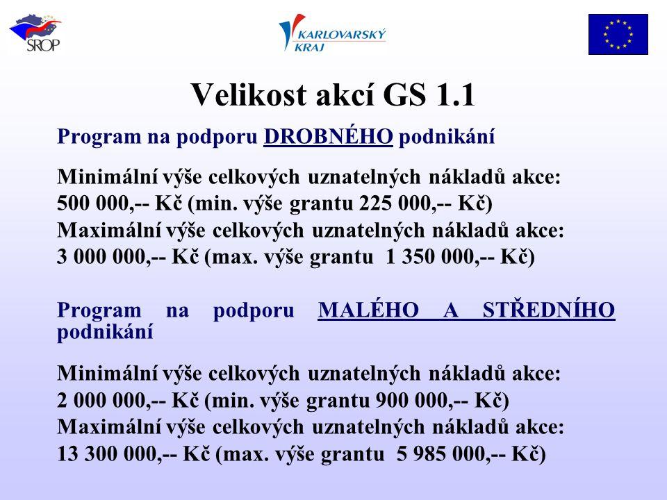 Velikost akcí GS 1.1 Program na podporu DROBNÉHO podnikání Minimální výše celkových uznatelných nákladů akce: 500 000,-- Kč (min.