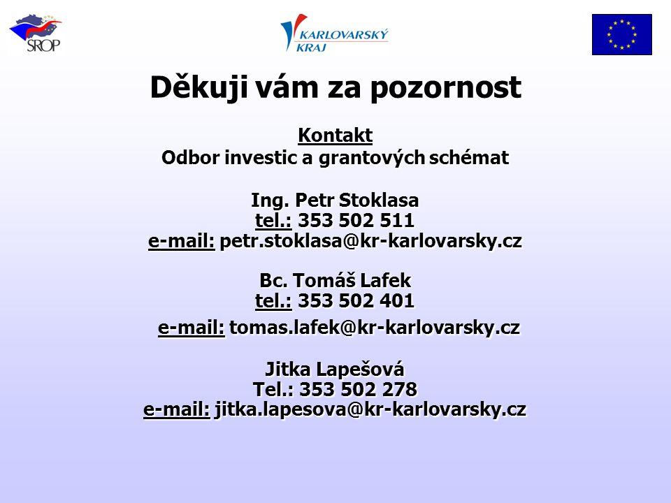 Děkuji vám za pozornost Kontakt Odbor investic a grantových schémat Ing.