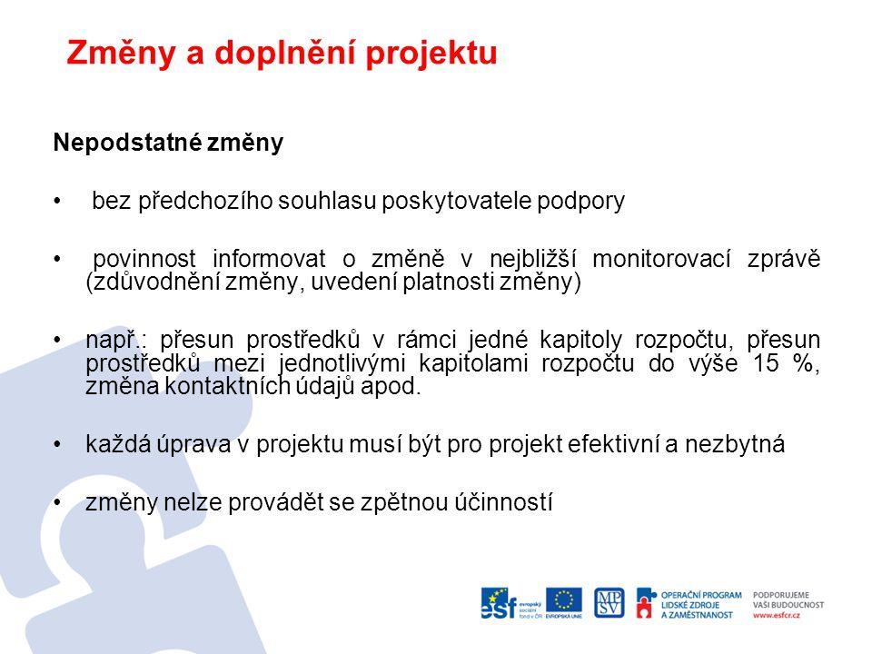 Uchování dokumentů Po dobu 10 let od ukončení projektu (1.