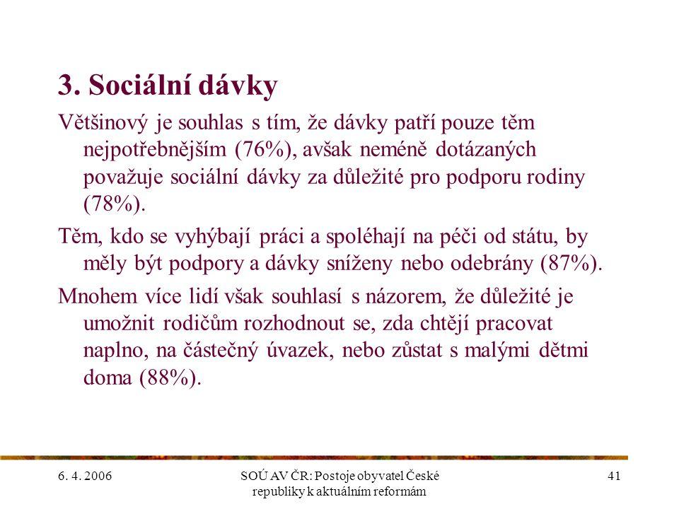 6. 4. 2006SOÚ AV ČR: Postoje obyvatel České republiky k aktuálním reformám 41 3.