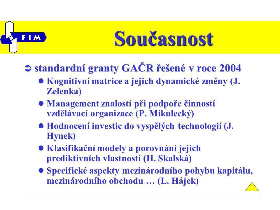 Současnost  standardní granty GAČR řešené v roce 2004 Kognitivní matrice a jejich dynamické změny (J.