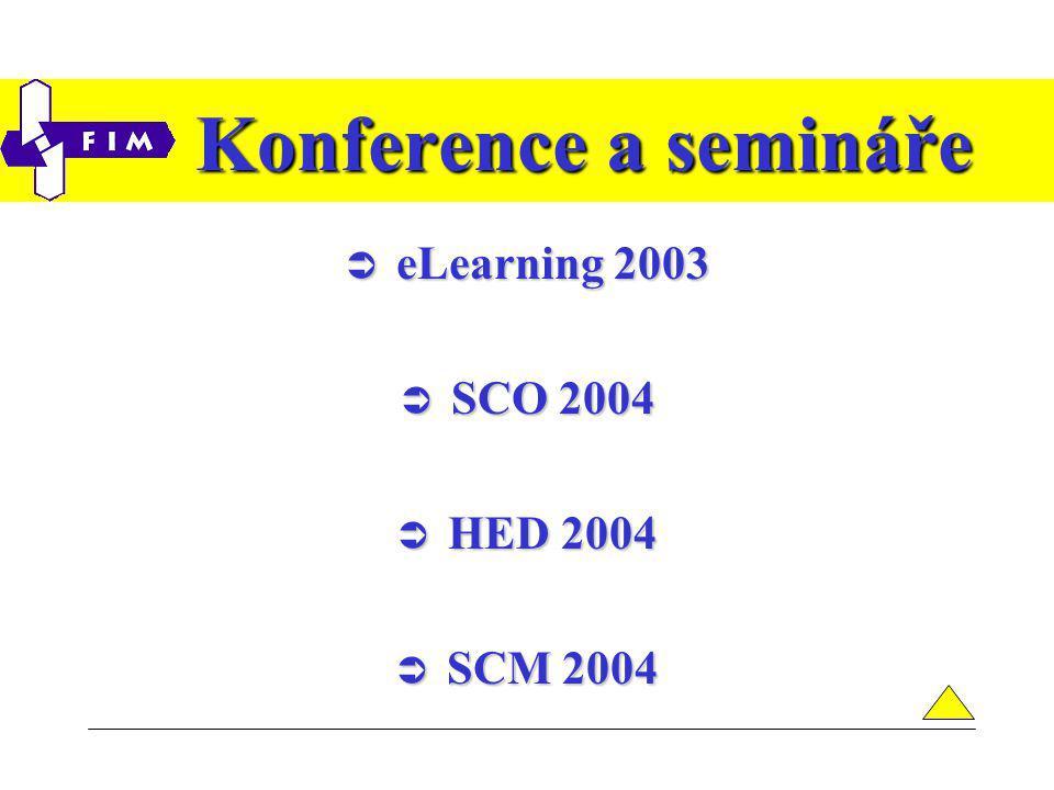 Konference a semináře  eLearning 2003  SCO 2004  HED 2004  SCM 2004