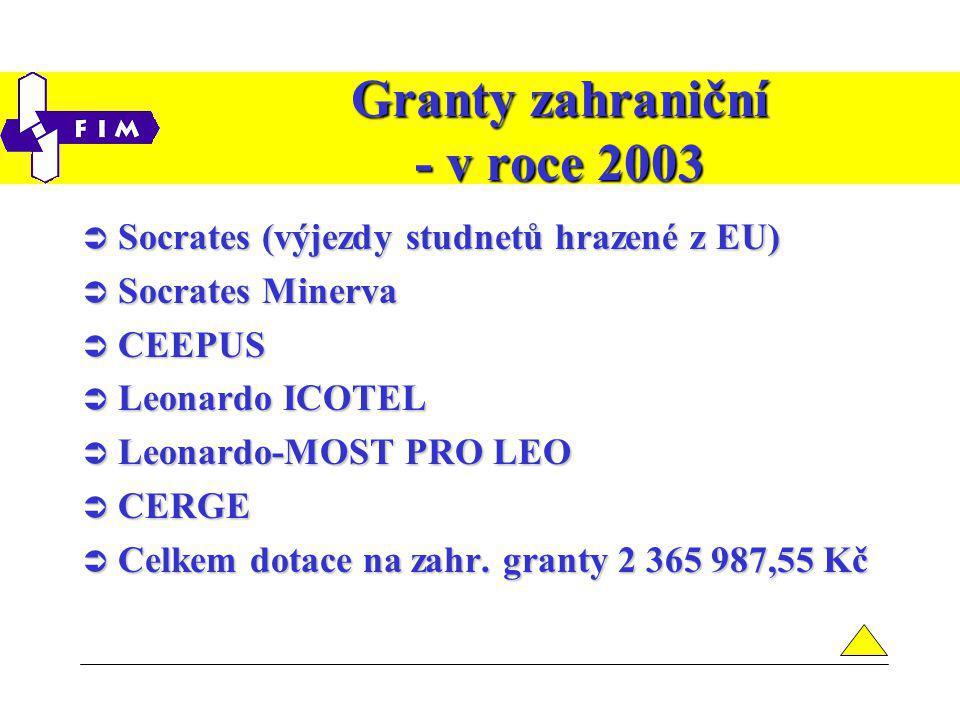 Granty zahraniční - v roce 2003  Socrates (výjezdy studnetů hrazené z EU)  Socrates Minerva  CEEPUS  Leonardo ICOTEL  Leonardo-MOST PRO LEO  CERGE  Celkem dotace na zahr.