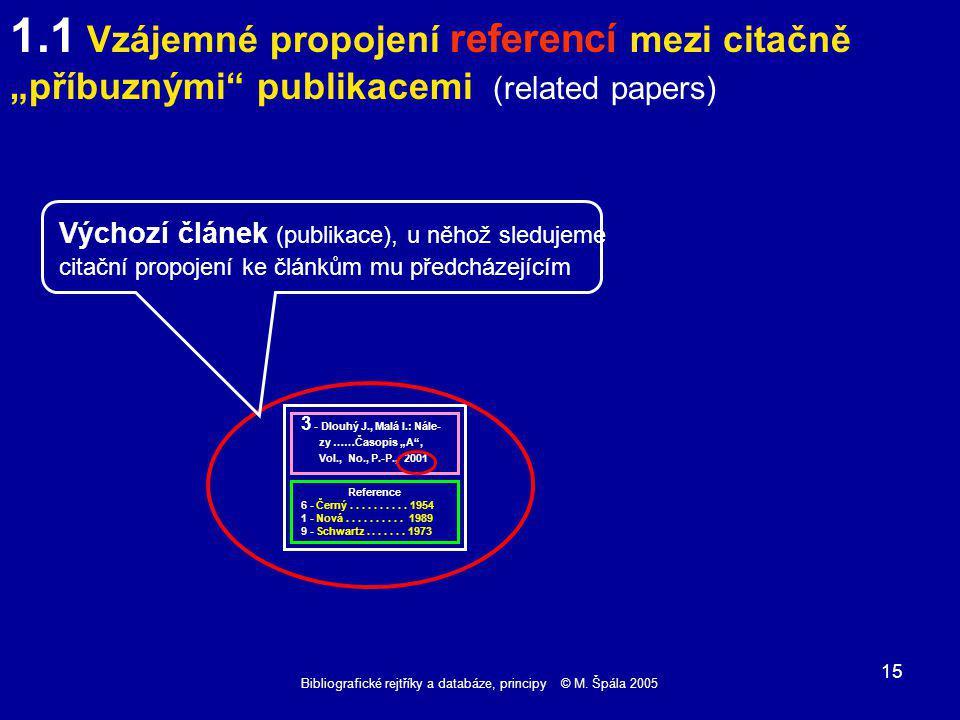 Bibliografické rejtříky a databáze, principy © M. Špála 2005 15 Reference 6 - Černý..........