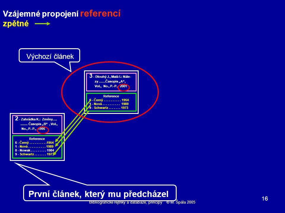 Bibliografické rejtříky a databáze, principy © M. Špála 2005 16 Reference 6 - Černý..........
