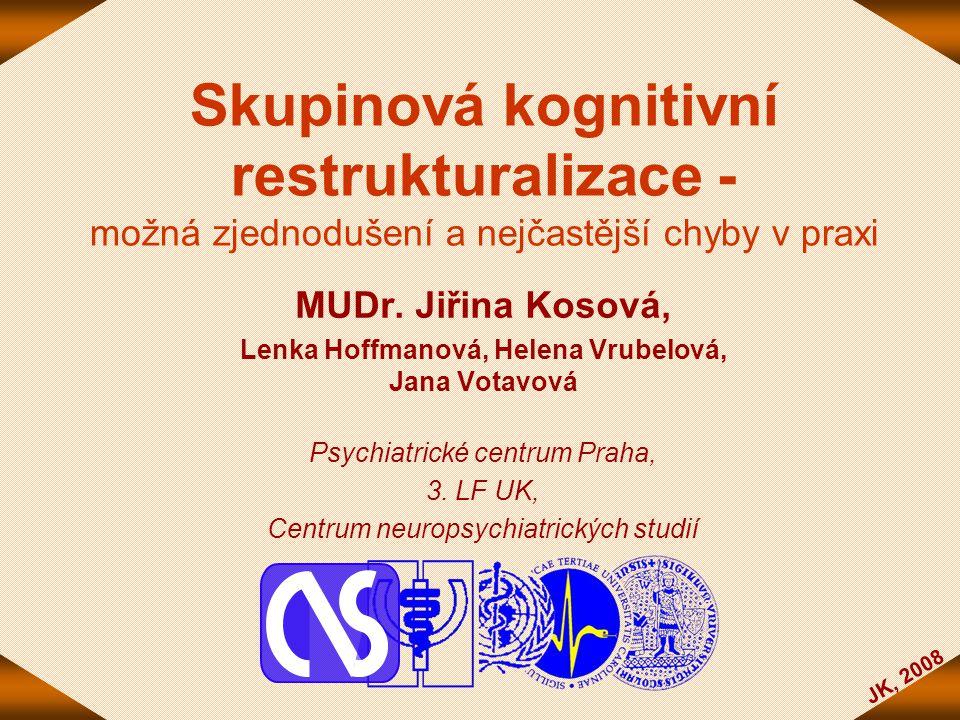 JK, 2008 Skupinová kognitivní restrukturalizace - možná zjednodušení a nejčastější chyby v praxi MUDr. Jiřina Kosová, Lenka Hoffmanová, Helena Vrubelo