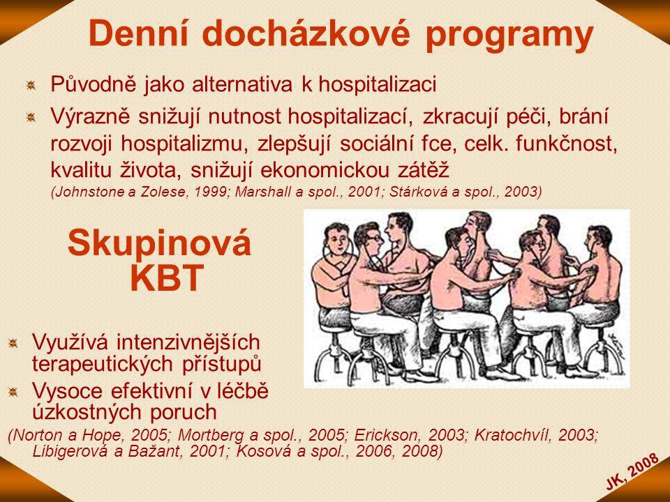 JK, 2008 Denní docházkové programy Původně jako alternativa k hospitalizaci Výrazně snižují nutnost hospitalizací, zkracují péči, brání rozvoji hospit