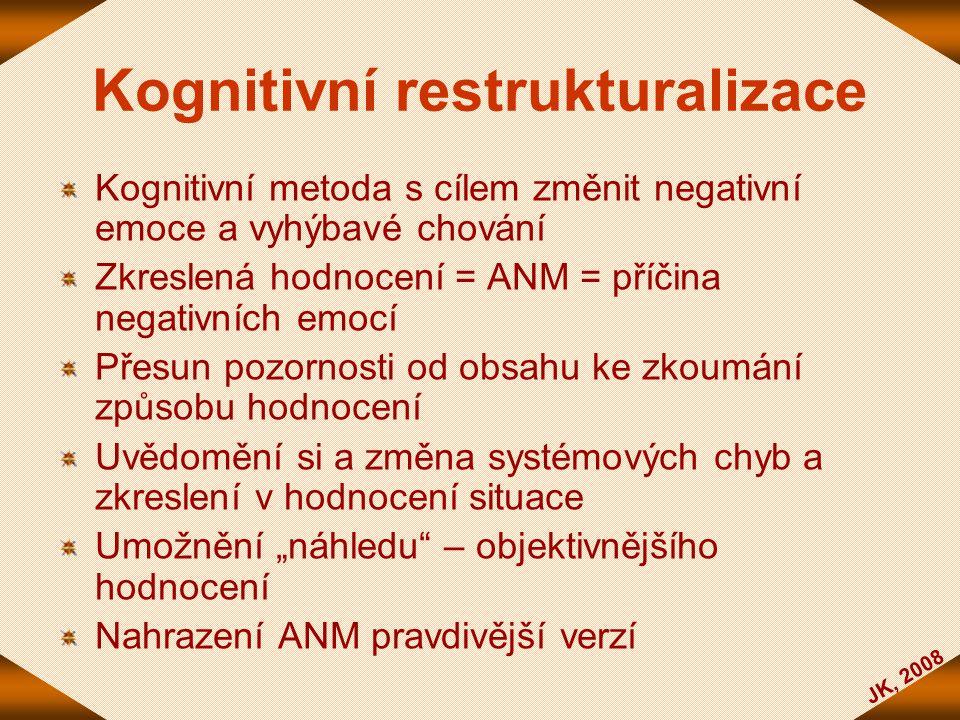 JK, 2008 Kognitivní restrukturalizace Kognitivní metoda s cílem změnit negativní emoce a vyhýbavé chování Zkreslená hodnocení = ANM = příčina negativn