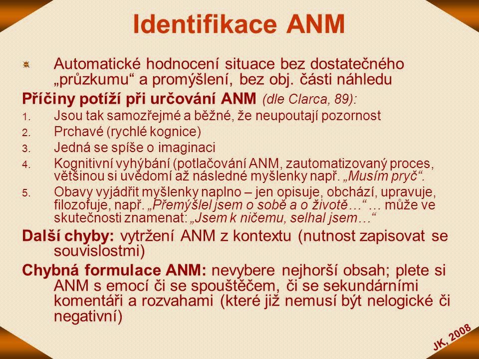 """JK, 2008 Identifikace ANM Automatické hodnocení situace bez dostatečného """"průzkumu"""" a promýšlení, bez obj. části náhledu Příčiny potíží při určování A"""