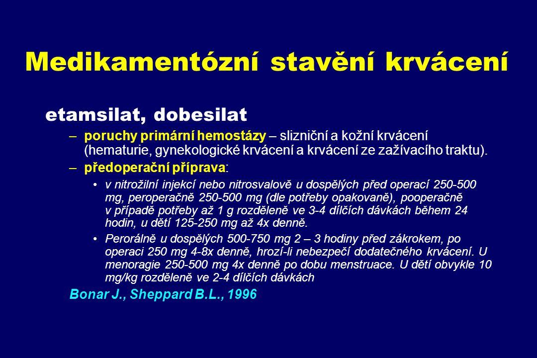 Medikamentózní stavění krvácení etamsilat, dobesilat –poruchy primární hemostázy – slizniční a kožní krvácení (hematurie, gynekologické krvácení a krv