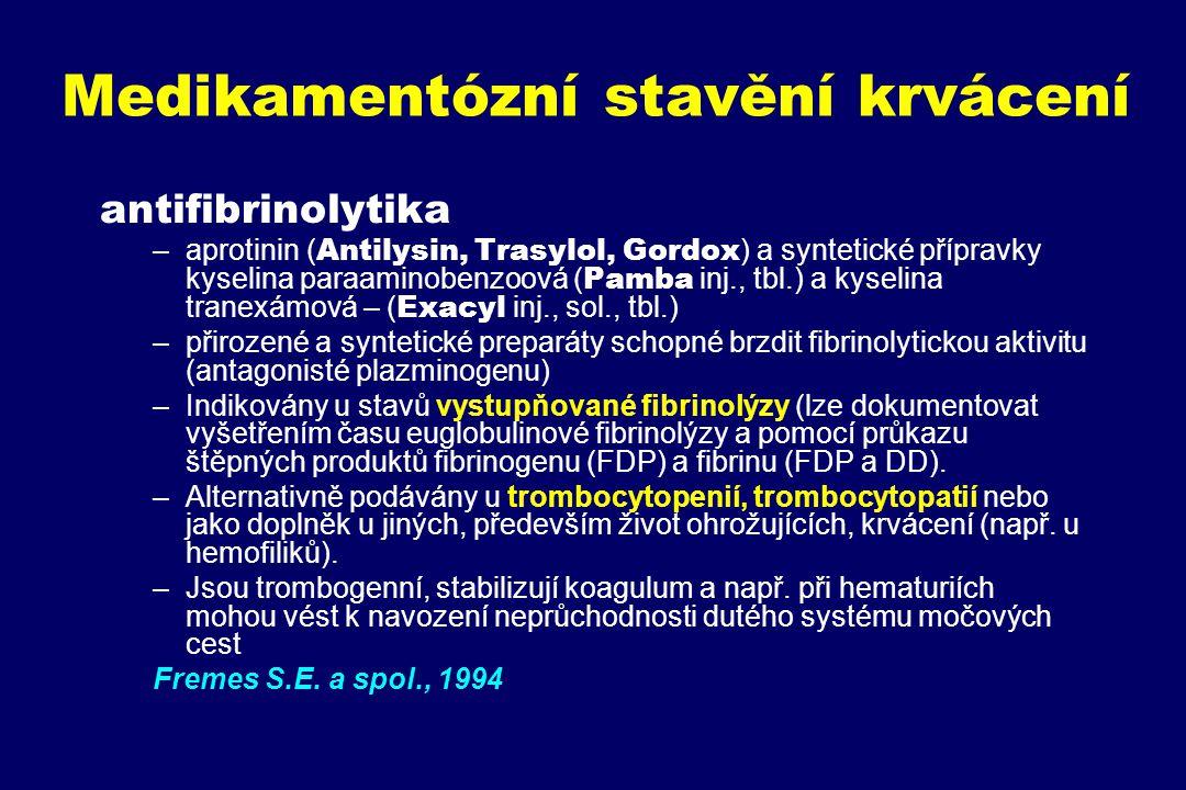 Medikamentózní stavění krvácení antifibrinolytika –aprotinin ( Antilysin, Trasylol, Gordox ) a syntetické přípravky kyselina paraaminobenzoová ( Pamba