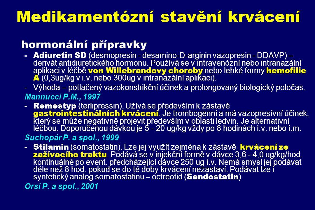 Medikamentózní stavění krvácení hormonální přípravky -Adiuretin SD (desmopresin - desamino-D-arginin vazopresin - DDAVP) – derivát antidiuretického ho