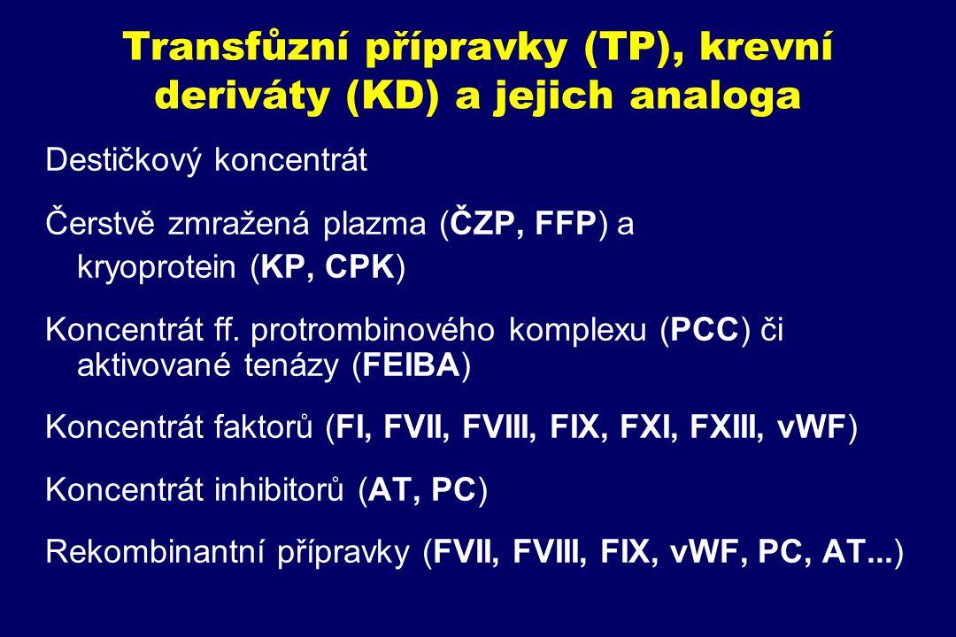 Transfůzní přípravky (TP), krevní deriváty (KD) a jejich analoga Destičkový koncentrát Čerstvě zmražená plazma (ČZP, FFP) a kryoprotein (KP, CPK) Konc
