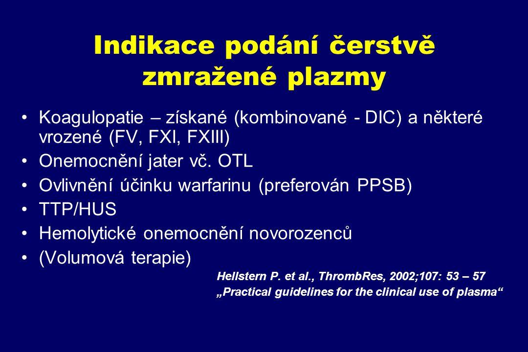 Indikace podání čerstvě zmražené plazmy Koagulopatie – získané (kombinované - DIC) a některé vrozené (FV, FXI, FXIII) Onemocnění jater vč. OTL Ovlivně