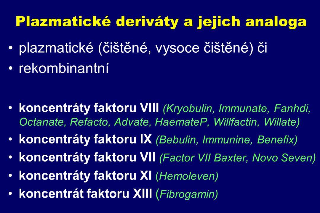 Plazmatické deriváty a jejich analoga plazmatické (čištěné, vysoce čištěné) či rekombinantní koncentráty faktoru VIII (Kryobulin, Immunate, Fanhdi, Oc